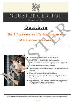 """Gutschein """"Weinsensorik Seminar für Einsteiger"""""""