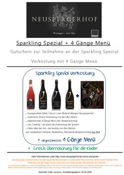 Gutschein Sparkling Spezial Online Verkostung mit 4 Gänge Menü