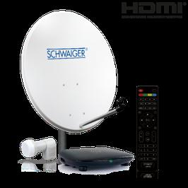 Satellitenanlage (72 cm + Twin LNB + Receiver) mit HDTV Empfang für bis zu 2 Teilnehmer