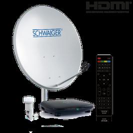 Satellitenanlage (55 cm + Single LNB + Receiver) für den HDTV Empfang mit einem Teilnehmer