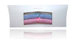 Klassischer Kinderkleiderbügel - Vichy karo bleu und rosé