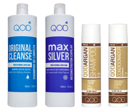 QOD max SILVER Hair Keratin Treatment 4er KIT Blow Dry + GRATIS: QOD Argan Öl 10 ml