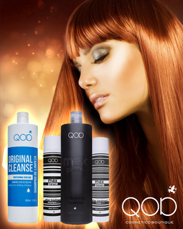 QOD max PRIME S-FIBER Brazilianisches Keratin Hair Treatment 4er KIT Blow Dry(Treatment und Cleanse sind abgefüllt)