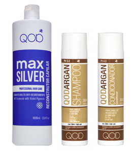 QOD max SILVER Brazilianisches Keratin Glättung Hair Treatment 3er KIT Blow Dry