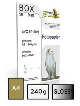EVO 62110, glossy, DIN A4, 240 gr. |  50 Blatt  | ultra white