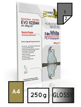 EVO 62204, glossy, DIN A4, 250 gr. |  50 Blatt  |  Beidseitig bedruckbar