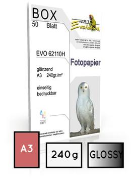 EVO 62110, glossy, DIN A3, 240 gr. | 50 Blatt  |  ultra white