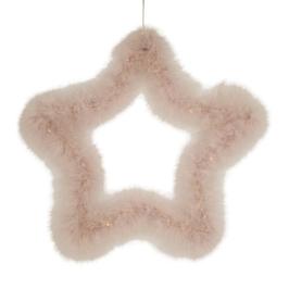 Federstern LED rosa zum Hängen klein