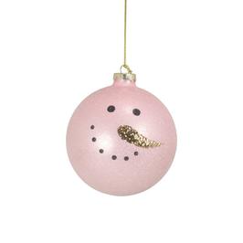 Weihnachtskugel Schneemann Glitzer rosa