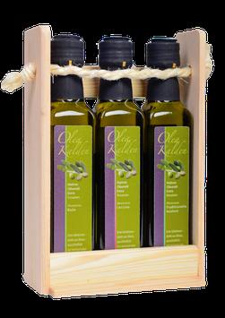 Unsere vom Weltolivenführer 'Flos Olei' und der Zeitschrift 'Feinschmecker' prämierten nativen Olivenöle extra jetzt als 3er-Set