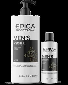 Универсальный мужской шампунь EPICA  FOR MEN для ежедневного ухода с охлаждающим эффектом  1000 и 300 мл