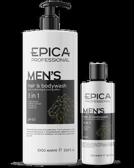 Универсальный мужской шампунь EPICA «3 в 1» для волос и тела с кондиционирующим и охлаждающим эффектом  1000 и 250 мл