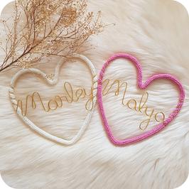 Le cœur avec prénom - cadeau personnalisé - fait main