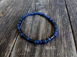 Surfer-Armband mit Morsebuchstaben deiner Wahl   (dunkelblau-schwarz)