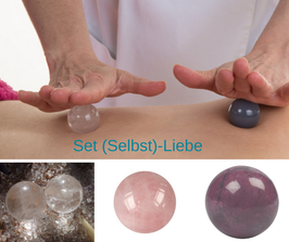 Massagekugeln - Set  (Selbst)-Liebe (Bergkristall, Rosenquarz, Rhodonit)