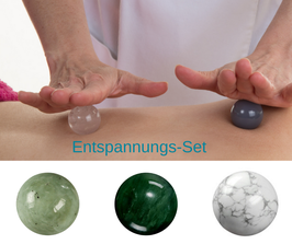 Massagekugeln - Set Entspannung (Nephrit, Serpentin, Magnesit)