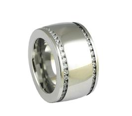 RH368 Edelstahl Ring mit zwei Zirkoniareihen