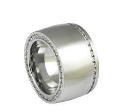 RH378 Edelstahl Ring mit zwei Zirkoniareihen