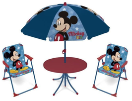 4X SET Pièces Camping Parasol / 2 Chaises / 1 Table Ronde  MICKEY à € 33.90
