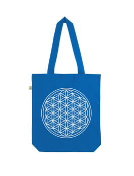 EARTHPOSITIVE® ORGANIC FASHION BAG  |   BRIGHT BLUE  |   FLOWER OF LIFE