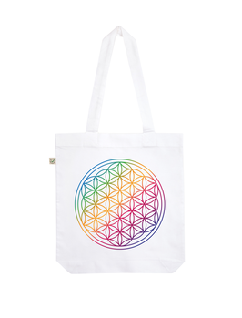 EARTHPOSITIVE® ORGANIC FASHION BAG  |   WHITE  |   FLOWER OF LIFE