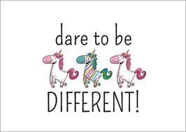 Postkarte dare to bei different
