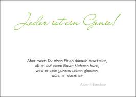 Postkarte: Jeder ist ein Genie...