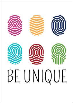 Postkarte Be Unique - Fingerabdruck