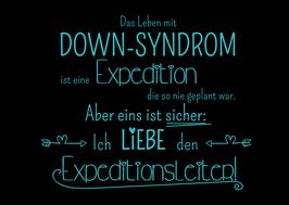 Postkarte:  Das Leben mit Down-Syndrom ist eine Expedition