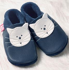 Hausschuh Leder Kätzchen blau