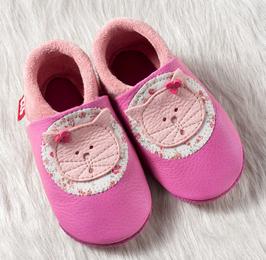 Hausschuh Leder Kätzchen pink