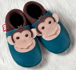 Hausschuh Leder Affe blau