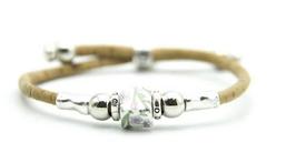 Bracelet végan céramique carrée et liège -