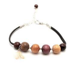 Bracelet cuir et bois Loanne
