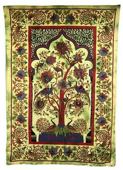 Couvre-lits indiens ou art mural L'arbre de la vie - Vert