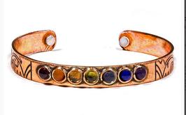 Bracelet couleur chakra cuivre magnétique