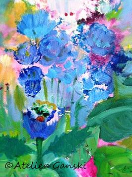 "Acrylbild ""Blaue Blumen"""