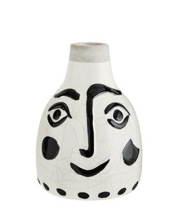 Madam Stoltz - Steinvase mit Gesicht - Weiß/Schwarz