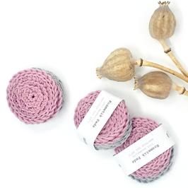vnf handmade - Kosmetik Pads 5er Set - Rosa/Grau