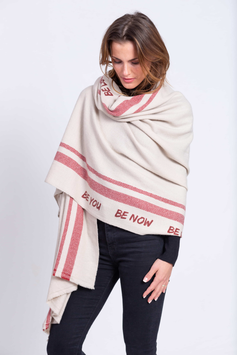 Karma Love - SCHAL BE YOU BE NOW BE LOVE - Creme/Red