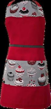 Tablier de cuisine rouge et gris gâteaux et pâtisseries