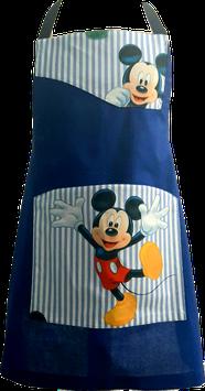 Tablier de cuisine bleu rayé blanc Mickey