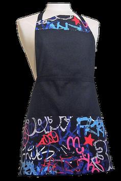 Tablier de cuisine noir Graffitis colorés