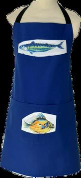 Tablier de cuisine bleu Poissons colorés