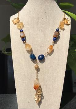 Collar en Citrino Amarillo, ojo de tigre y Lapiz Lazuli AAA