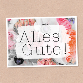 Postkarte -Alles Gute Blumen 2-
