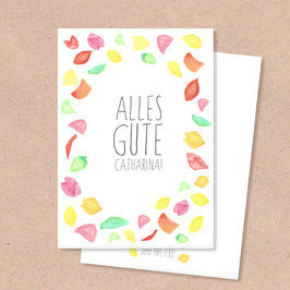 Klappkarte -Alles Gute Blütenregen- individualisierbar