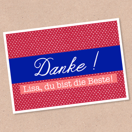 Postkarte -Danke- individualisierbar