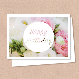 Klappkarte -Happy Birthday Blumen-