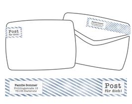 WrapAround Etiketten -Streifen Retro-
